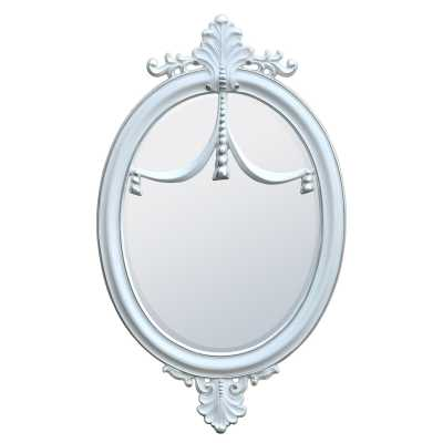 French Influenced Rococo Style Gloss White Silver Oval Wall Mirror