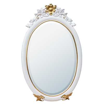 Rococo Style White and Gold Gloss Painted Oval Decorative Wall Mirror