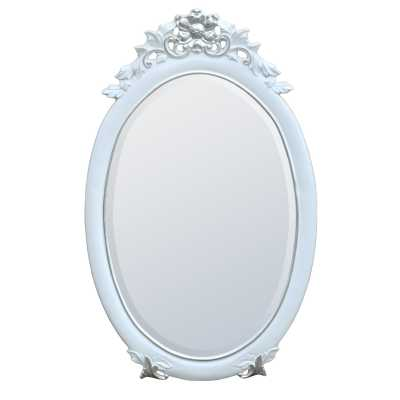 Rococo Style White Silver Gloss Painted Oval Decorative Wall Mirror