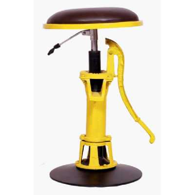 Vespa Lighting Adjustable Dark Brown Leather Seat Bright Yellow Water Pump Stand Stool 45x43x73cm