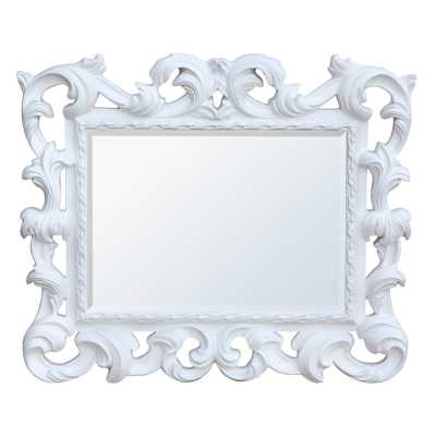 White Baroque Overmantel Mirror