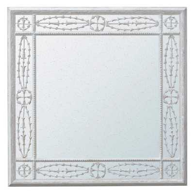 Antique Style Fretted Distressed Glass Cream Square Wall Mirror