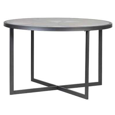 Modern Black Beamed and Glass Top Small Round Dining Table