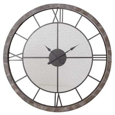 Trending Large Round Metal Wall Clock with Outer Wooden Frame