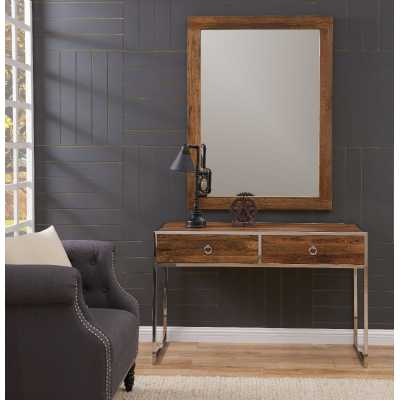 Modern Malmo Elm Wood 3 Drawer Console Table And Mirror Set