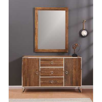Modern Malmo Elm Wood 3 Drawer Sideboard And Mirror Set