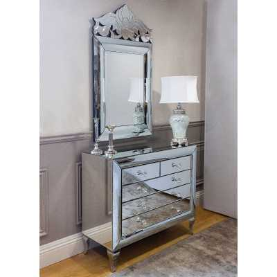 Monroe Mirror Glass Chest of Drawers And Wall Mirror Set