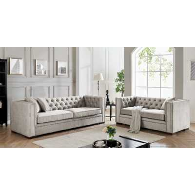 Montreal 3+2 Pebble Grey Fabric Upholstered Traditional Buttoned Sofa Set Suite