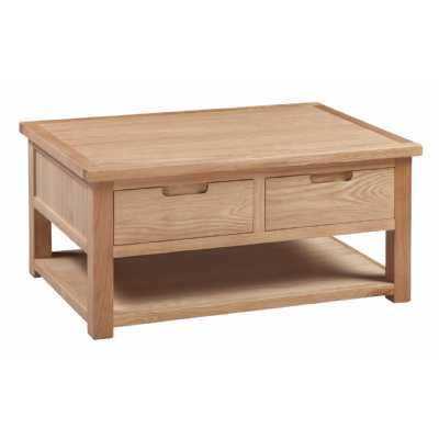 Oak Square Lounge Coffee Table with 2 Drawers Open Shelf Base Moderna Collection