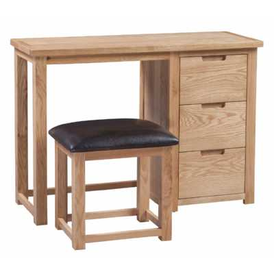 Light Oak Dressing Table and Stool Set Single Pedestal 3 Drawers Moderna Collection