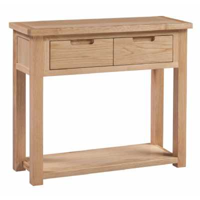 Small Oak Console Hall Table 2 Drawers Open Base Shelf Moderna Collection