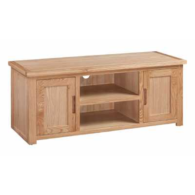 Large Oak Widescreen Open TV Media Cabinet with 2 Doors Moderna Collection
