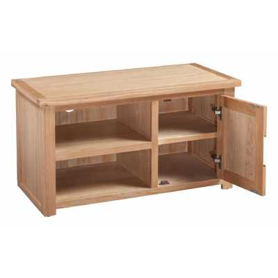 Small Oak Open TV Cabinet HiFi Media Unit with 1 Door Moderna Collection