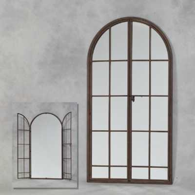 London Antiqued Iron Large Arched Window Metal Opening Wall Mirror