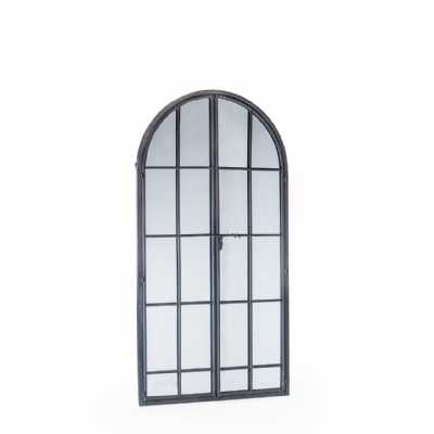 Antiqued Lead Grey Iron Large Arch Window Metal Mirror
