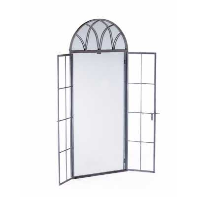 Antiqued Lead Grey Iron Tall Arch Window Metal Wall Mirror