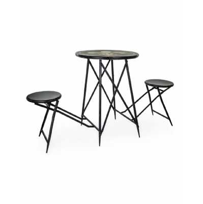 Round Black Finish Antiqued Metal Folding 2 Seat Bar Table