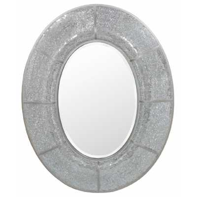 Sutton Champagne Trim Oval Wall Mirror with Mosiac Pattern