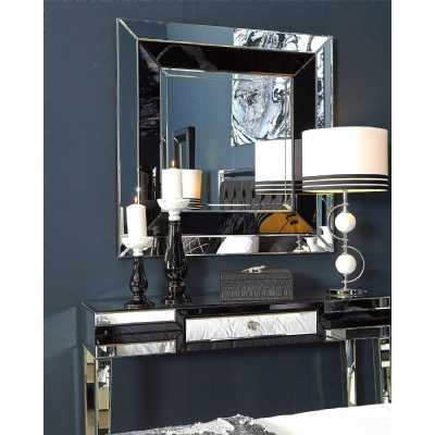 Contemporary Glass Black and Clear Square Wall Mirror