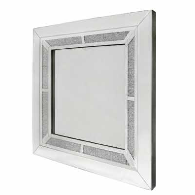 Large Crystal Diamond Mirrored Glass Square Wall Mirror 90cm