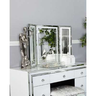 Contemporary London White Mirrored Glass Triple Vanity Mirror