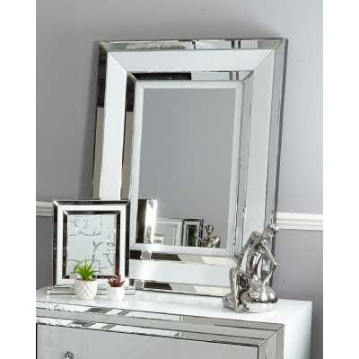 Contemporary White Mirrored Glass Framed Wall Mirror