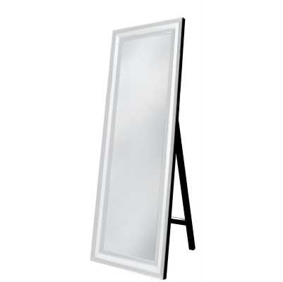 White Seattle Madison Mirrored Glass Floor Standing Mirror