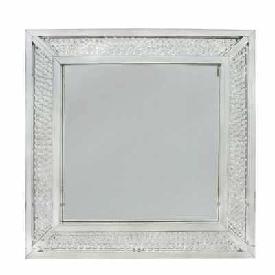 Glass Gems Floating Crystal Square Mirrored Frame Wall Mirror