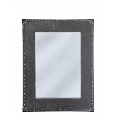 Bay Trending Fabric Covered Wall Mirror with Grey Matte Trim