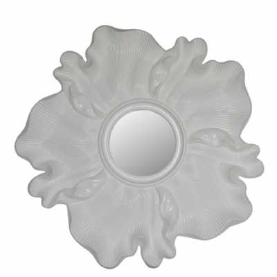 Glossy White Flower Wall Mirror
