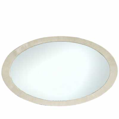 Evolve Oval Wall Mirror with Light Ivory Woodgrain Gloss Frame