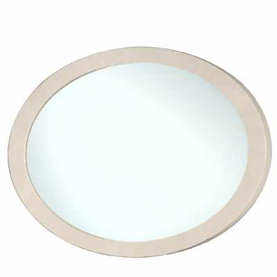 Oval Wall Mirror with Light Ivory Walnut Gloss Frame