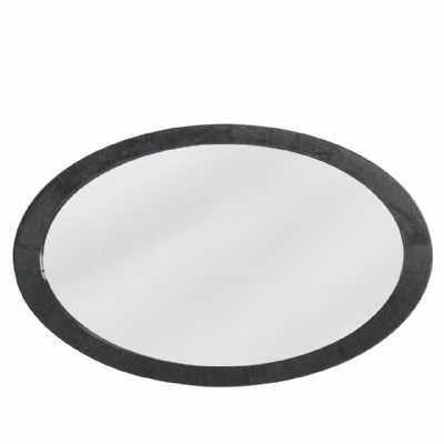 Modern Oval Wall Mirror with Dark Grey Woodgrain Gloss Frame