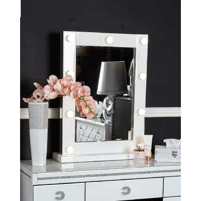 White Glass Broadway 9 Light Dressing Table Mirror