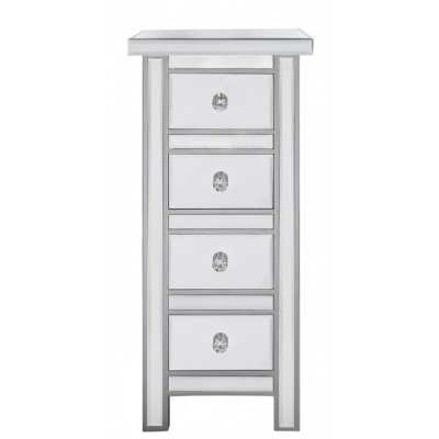 Alice Mirrored Glass Tall 4 Chest of Drawers with Crystal Handles