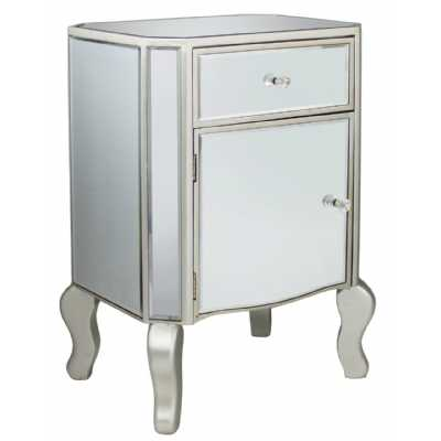 Mirror One Drawer Chest With Champagne Trim