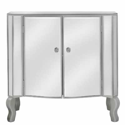 Mirror 2 Door Side Cabinet With Champagne Rim And New Crystal Handles