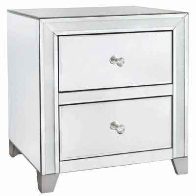 2 Drawer Mirrored Glass Cabinet with Frosted Glass Crush Glass Inset