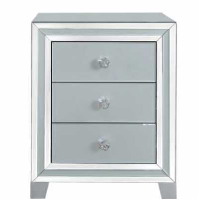 Seattle Madison Grey and Clear Mirror 3 Drawer Bedside Cabinet