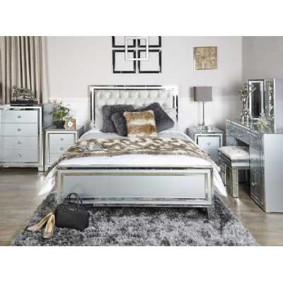 Grey Glass Mirror King Size Bed Frame