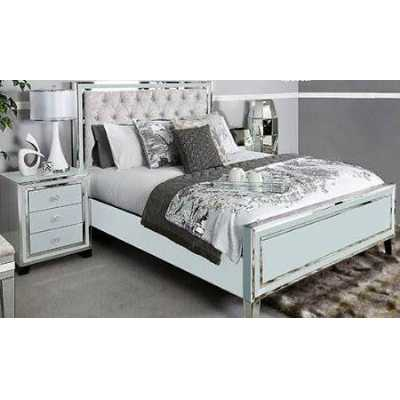 Grey London Glass Mirror King Size Bed Frame