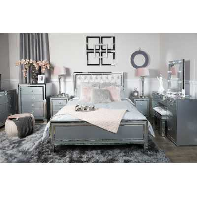 Grey Mirrored Glass 5ft King Size Bed Frame with Upholstered Headboard