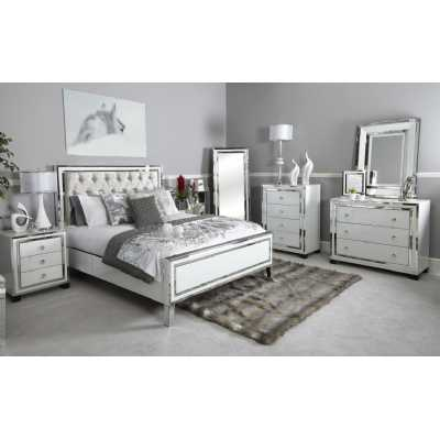 White London Mirrored Glass King Size Bed Frame with Fabric Headboard