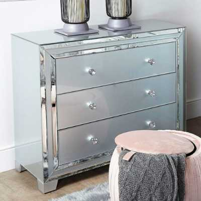 City Chic Grey Seattle Madison Glass Mirror 3 Drawer Chest