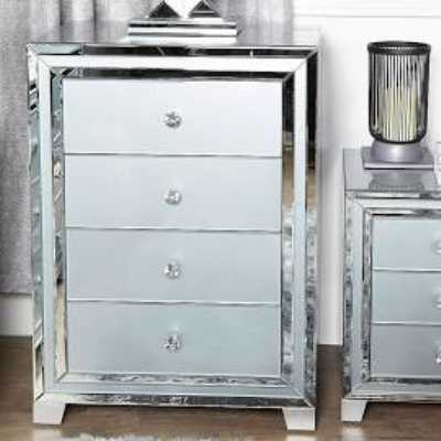 Grey and Clear Seattle Madison Mirror Glass 4 Drawer Chest