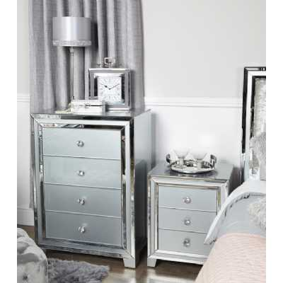 Contemporary Grey and Clear London Mirror Glass 4 Drawer Chest