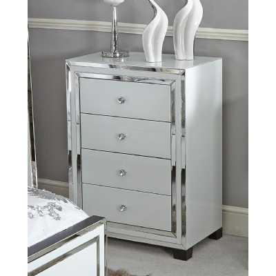 White Glass Seattle Madison Mirrored Trim 4 Drawer Chest of Drawers