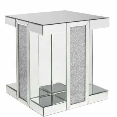 Crystal Diamond End Table Contemporary Mirrored Glass