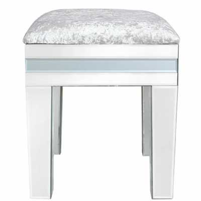 Grey Seattle Madison Glass Mirror Stool with Padded Seat