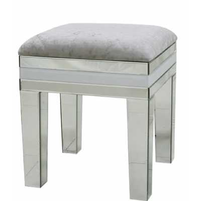 White Seattle Madison Mirrored Dressing Table Stool